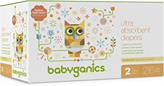 Diapers, Size 2, 216 ct, Babyganics Ultra Absorbant Diapers, Packaging May Vary