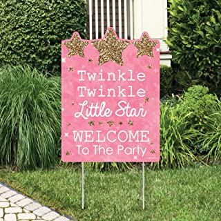 Big Dot of Happiness Pink Twinkle Twinkle Little Star - Party Decorations - Birthday Party or Baby Shower Welcome Yard Sign