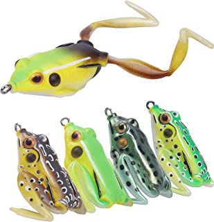 RUNCL Anchor Box - Premium Topwater Frog Lures, Soft Frog Baits 2 Legs/Twin Skirts - Weedless Design, Perfect Sitting Angle, Lifelike Swimming Action, Rugged Hooks - Soft Fishing Lures (Pack of 5)