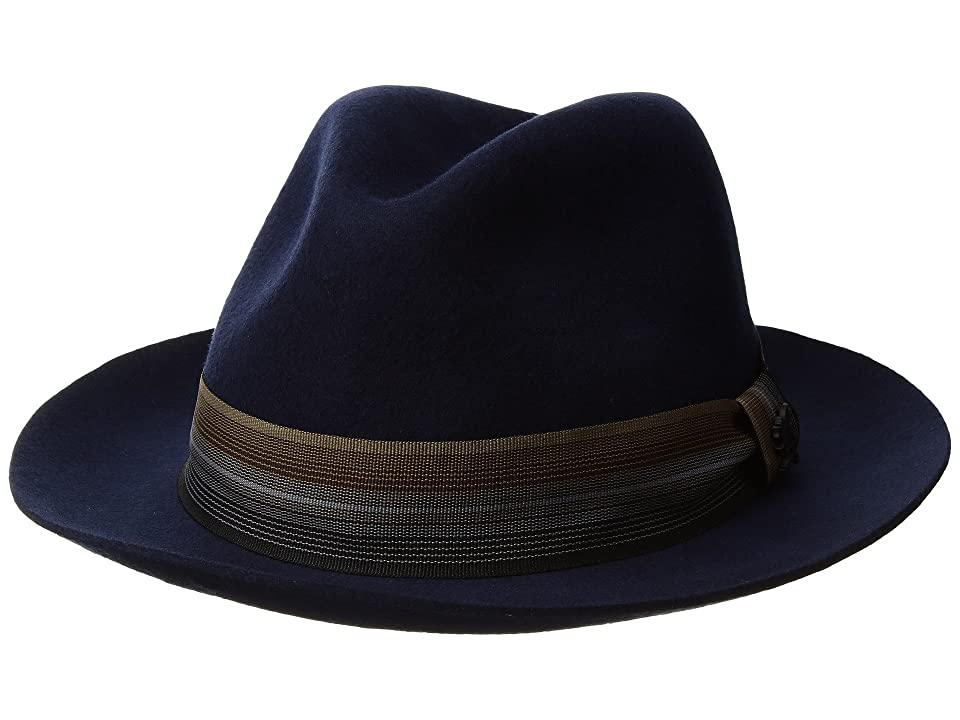 Stacy Adams Wool Pinch Front (Navy) Fedora Hats