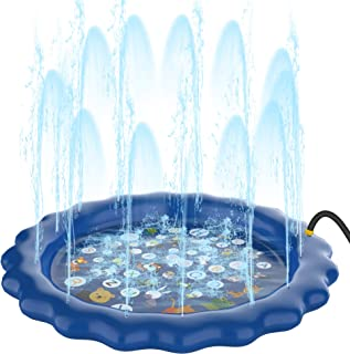PhyPa Sprinkler Mat for Kids, Water Spray Pad, Outdoor Water Pool for Boys and Girls, Summer Toy Gift