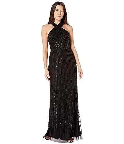 Adrianna Papell Beaded Halter Mermaid Gown (Black) Women