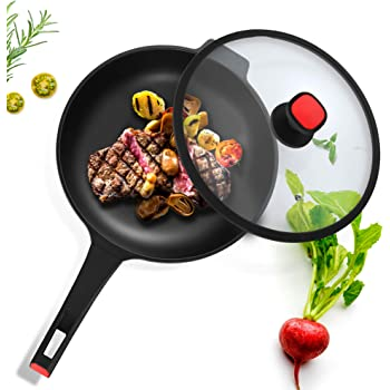 VOSIN Woks Nonstick Stir Fry Pans with Lid, Nonstick Frying Wok Flat Bottom,Less Oil Smoke, Multi-function Wok,Induction Compatible pan-12.6 Inch