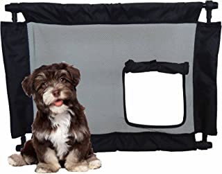 PET LIFE 'Porta Gate' Anti-Drilling Nylon Mesh Collapsible Folding Travel Safety Pet Cat Dog Gate w/Zippered Entrance, One...