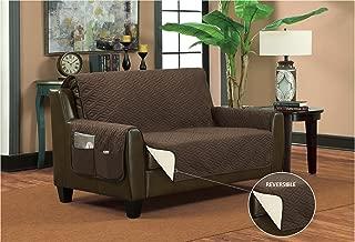 Bella Kline Reversible Sofa LOVESEAT Furniture Protector, with 2 Storage Pockets - Mocha/Tan