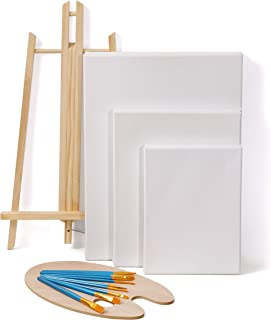 لوحات قماشية من MONNALISA لإمداد فن الرسم الاكريليك مع حامل طاولة، لوحة قماشية × 6 أحجام مختلفة، مجموعة فرش طلاء أكريليك و...