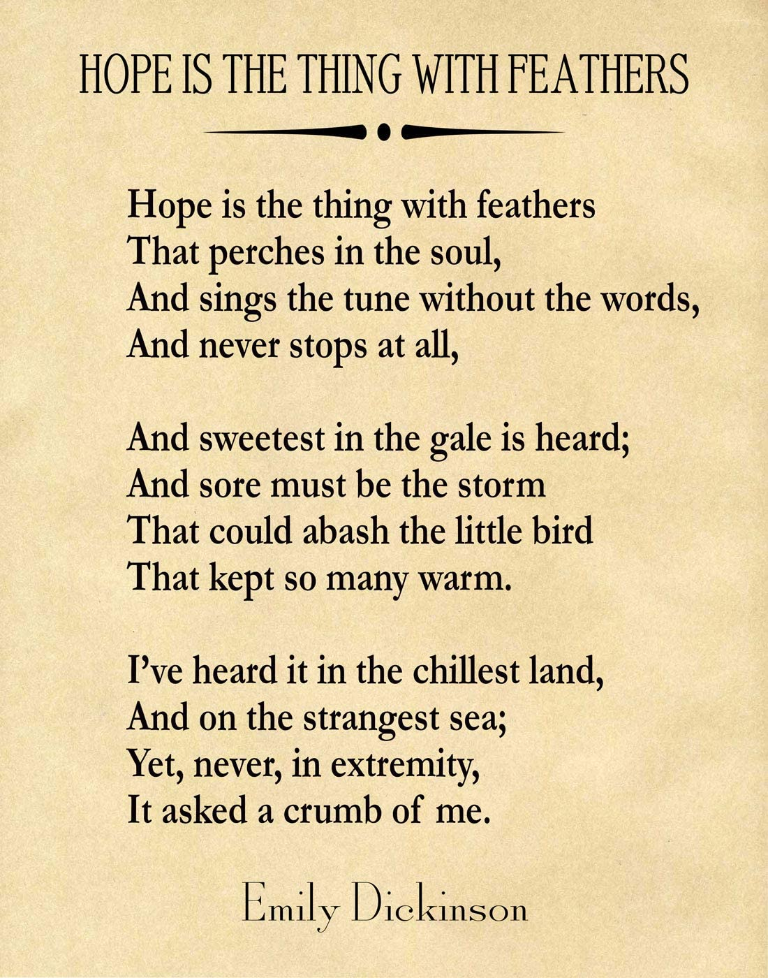 Amazon Com Hope Is The Thing With Feathers By Emily Dickinson Poem Emily Dickinson Quote Poem Poster Poem Prints Poetry Wall Art Poetry Poster 8 X 10 Ivory Posters Prints