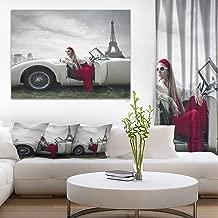 Fashion Woman in Car Cars Canvas Art Print