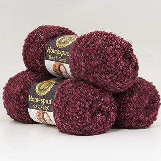 (3 Pack) Lion Brand Yarn 792-436 Homespun Thick and Quick Yarn, Claret