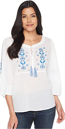 Bell Sleeve Embroidered Tie Neck Blouse