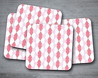 Posavasos rosa con diseño de mariposa geométrica blanca, posavasos individuales o juego de 4