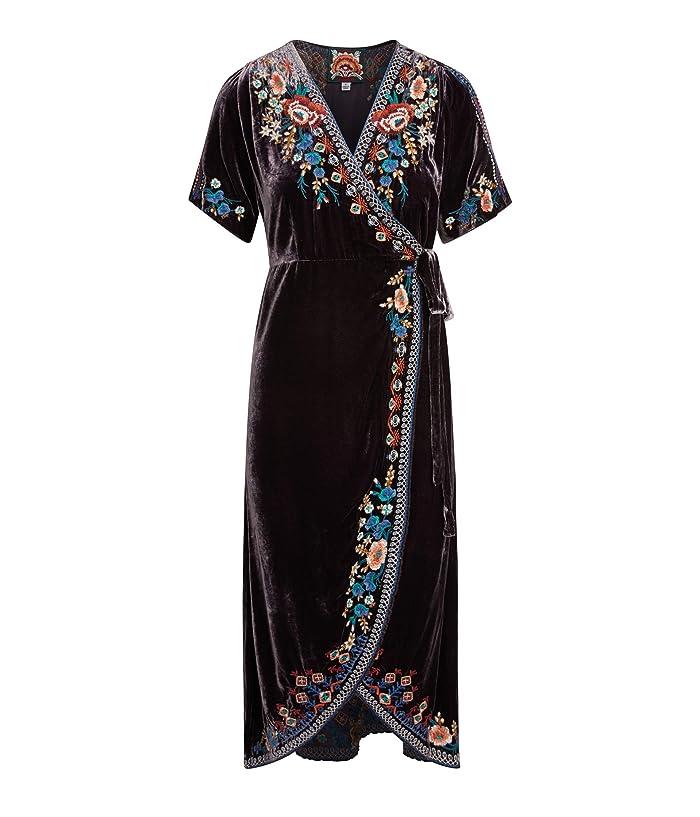 Flapper Dresses, Quality 1920s Flapper Dress Johnny Was Isadora Velvet Wrap Dress Deep Amethyst Womens Dress $284.00 AT vintagedancer.com