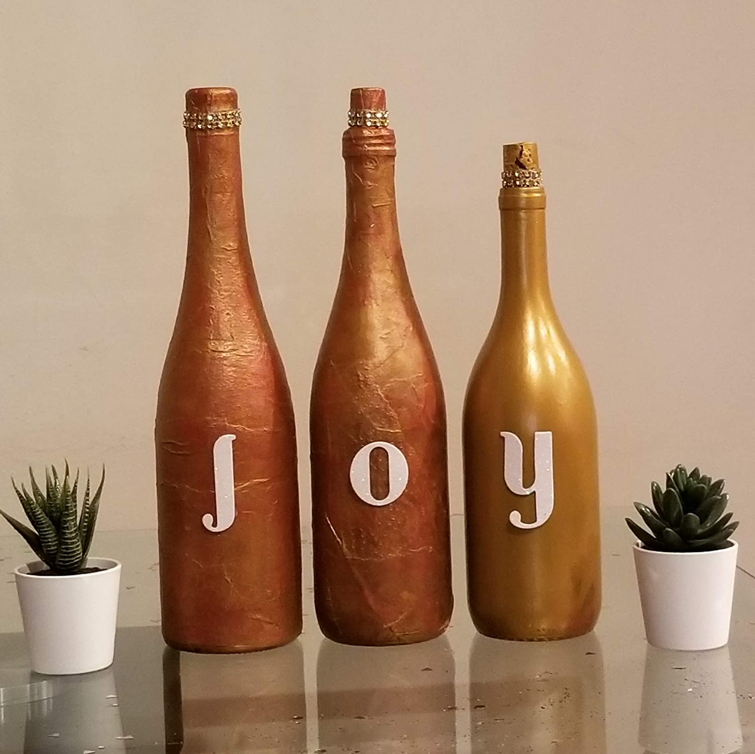 3 Hand Painted Bottles Discount mail order - JOY and golden Painting ochre Cash special price Home