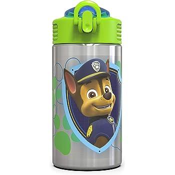 Zak Designs Paw Patrol 15.5oz Stainless Steel Kids Water Bottle with Flip-up Straw Spout - BPA Free Durable Design, Paw Patrol Boy SS