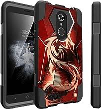 Untouchble Case for ZTE Blade X Max Case Case | ZTE Zmax Pro Case [Traveler Series] Combat Shockproof Dual Layer Hybrid Case with Kickstand - Red Dragon