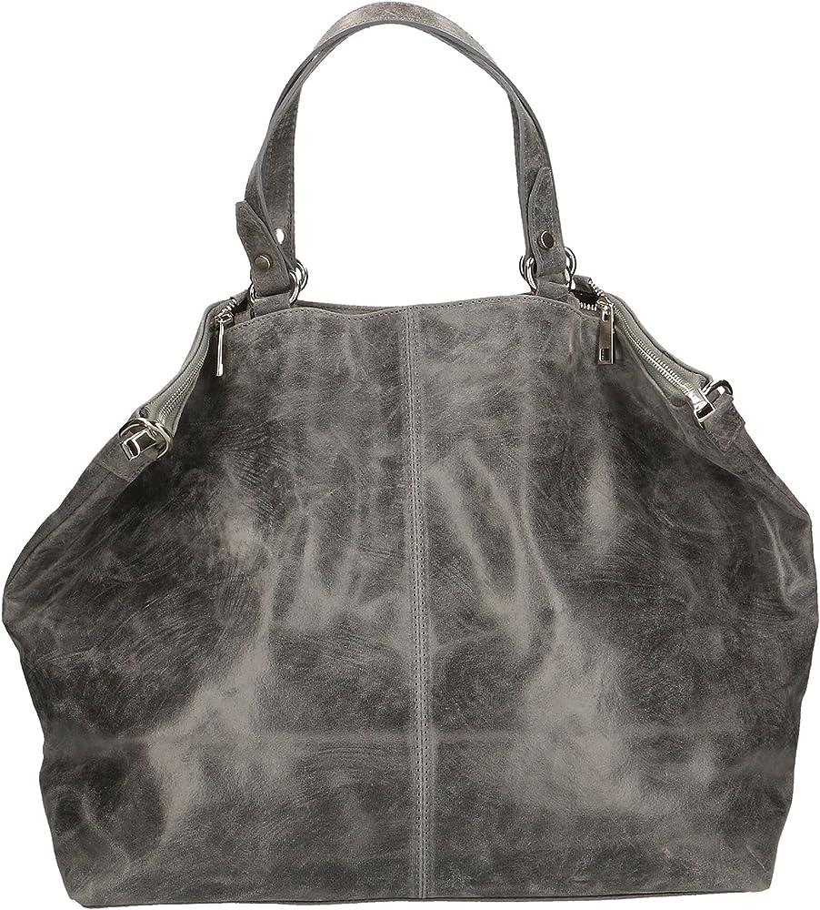 Chicca borse ctm,  borsa a mano grande da donna, in vera pelle effetto stampato, con tracolla, gri 80055-GRIGIO