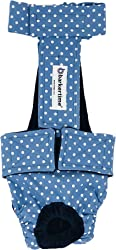 Barkertime Dog Diaper Overall - Made in USA - White Polka Dot on Baby Blue Escape-Proof Washable Dog Diaper Overall for Dog Incontinence, Marking, Housetraining and Females in Heat