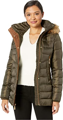 Short Poly Down Jacket w/ Contrast Detail & Faux Fur