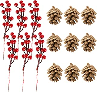 MSKEI Red Berries Golden Pine Cones for Christmas Tree Decoration DIY Crafts Holiday and Home Decor