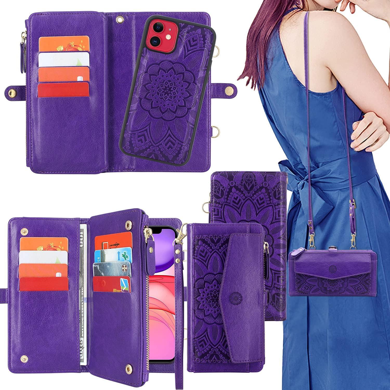 Harryshell [Block Theft Card Scanning] Card Slots Holder, Detachable Magnet Wallet Case Cover Cash Bill Zipper Pocket Crossbody Lanyard Strap for iPhone 11 6.1 inch 2019 (Floral Purple)