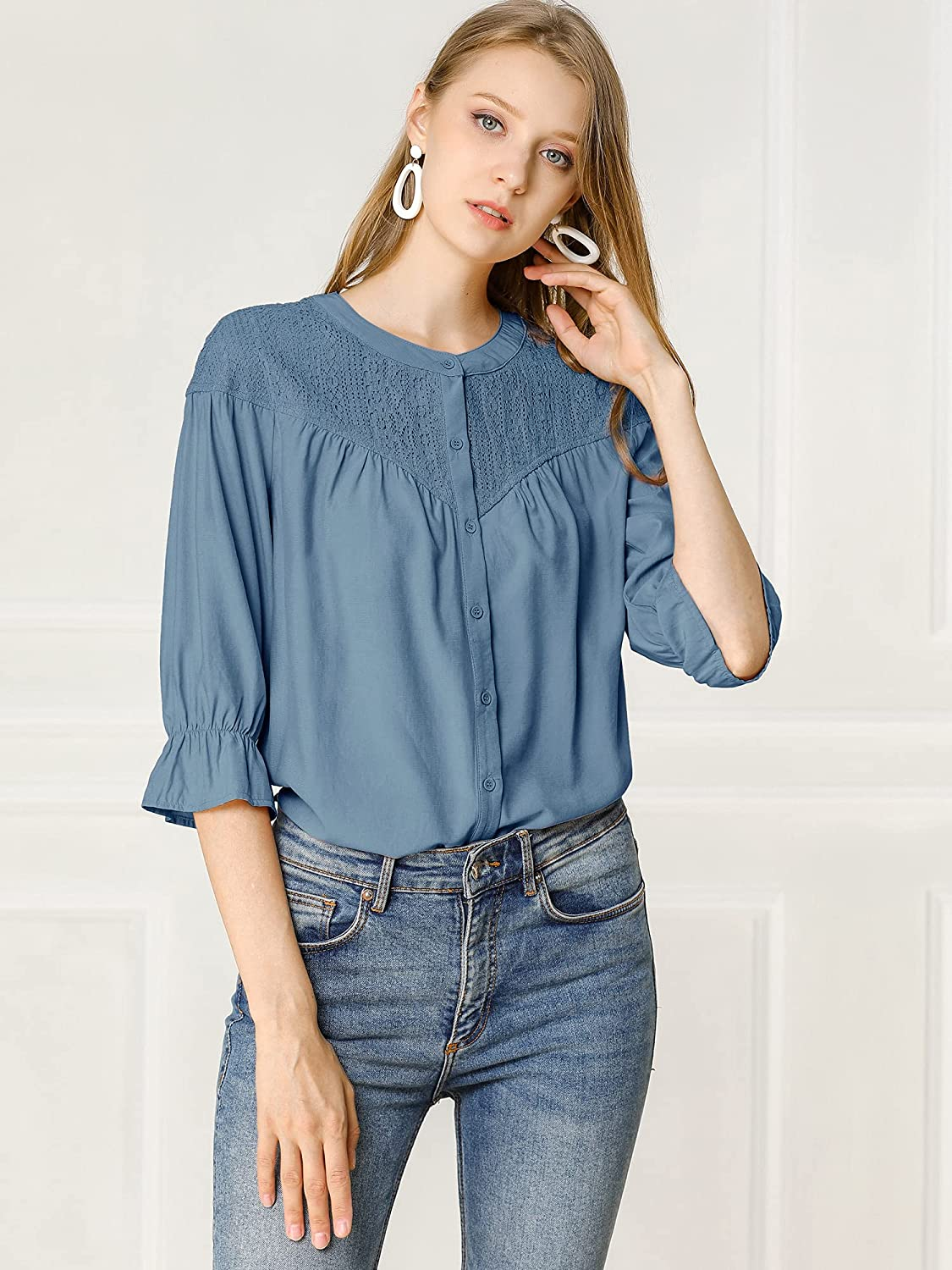 Allegra K Women's Lace Button Down 3/4 Sleeves Solid Color Blouse Shirt