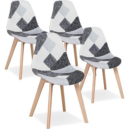 Uderkiny Lot de 4 Chaises Chaise de Salle à Manger Patchwork Chaise de Style Nordique pour la Cuisine la Salle à Manger Le Salon et Le Restaurant (Gris)