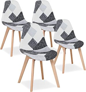Uderkiny Lot de 4 Chaises Chaise de Salle à Manger Patchwork Chaise de Style Nordique pour la Cuisine la Salle à Manger Le...