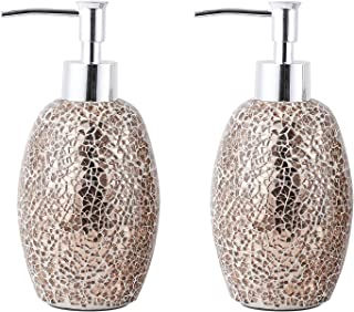 WH Housewares Set of 2 Soap Dispenser-Lotion Bottle-12OZ-Mosaic Glass with Chrome Plated Plastic Pump(Rose Gold)