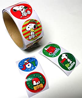 Peanuts Snoopy Christmas Stickers (1 roll, 100 Stickers)