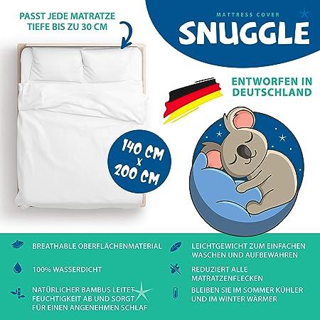 Snuggle - Protège-matelas 140 cm x 200 cm x 30 cm – Alèses respirantes 100 % – Surmatelas imperméable hypoallergénique, anti-acariens et hygiénique