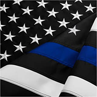 DANF Thin Blue Line Flag 3x5 ft Made from Nylon - Embroidered Stars - Sewn Stripes - UV Protection Black White and Blue American Police Flag Honoring Law Enforcement Officers