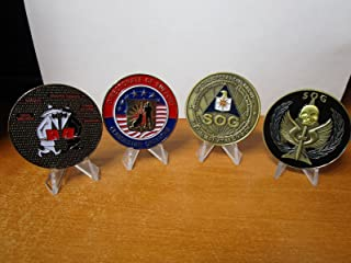 Set of 4 Various Central Intelligence Agency Challenge Coins CIA Special Operations Group SOG Non Official Cover Information Operations Center Spy vs Spy K-9 Clandestine Operative