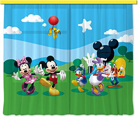 Ag Design Fcs Xl 4307 Disney Mickey Mouse Curtains For Child S Bedroom Amazon De Home Kitchen