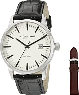 Stuhrling Original Men's Quartz Watch With White Dial Analogue Display and Black Leather Strap 555A.03