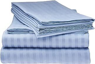 ITALIAN Collection 4PC QUEEN Sheet Set, Striped Light BLUE