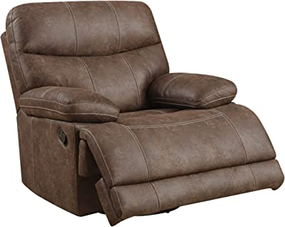 Emerald Home Earl Brown Recliner with Microfiber Upholstery, Swivel Recliner, And Pillow Arms