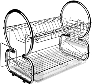 Oguine Home Kitchen 2 Tier Stainless Steel Dish Rack Space Saver Dish Drainer Drying Rack,US Stock (Silver)