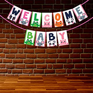 Wobbox Baby Shower Bunting Banner Cute Animal Faces Welome Baby, Welcome Banner for Decoration, Baby Shower Banner for Dec...