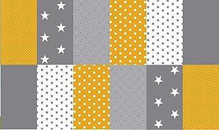 Stoffpaket Patchwork Baumwollstoffe 12 x 25x35cm gelb grau weiß - Stoffe - Punkte, Sterne, Rauten, Pünktchen, Sterne