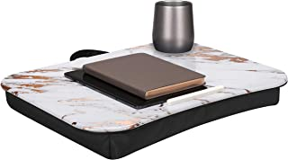 LapGear Cup Holder Lap Desk with Device Ledge - Rose Gold Marble - Fits up to 15.6 Inch Laptops - Style No. 46310, Rose Marble