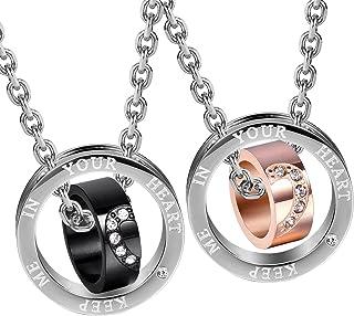 Set di due collane con ciondolo ad anello per lui e lei, 2 pezzi scintillanti, gioielli in zirconia cubica con catene da 4...