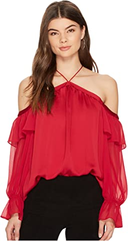 1.STATE - Cold Shoulder Blouse with Chiffon Sleeves