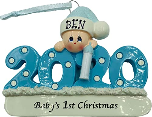 Personalized Baby's First Christmas Ornament 2020 Blue/boy Free Personalization