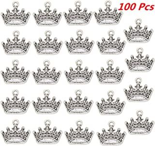 Xinhongo 100pcs Alloy Crown Shape Charms Pendants Jewelry Findings for Making Bracelet and Necklace, Jewelry Making,Zipper Pendant Cellphone Pendant DIY Accessaries,15x18mm(Silver Crown)