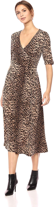 Chaus Womens Elbow SLV Leopard Spots Wrap Dress Dress