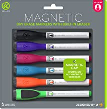 U Brands Low Odor Magnetic Dry Erase Markers With Erasers, Medium Point, Assorted Colors, 6-Count