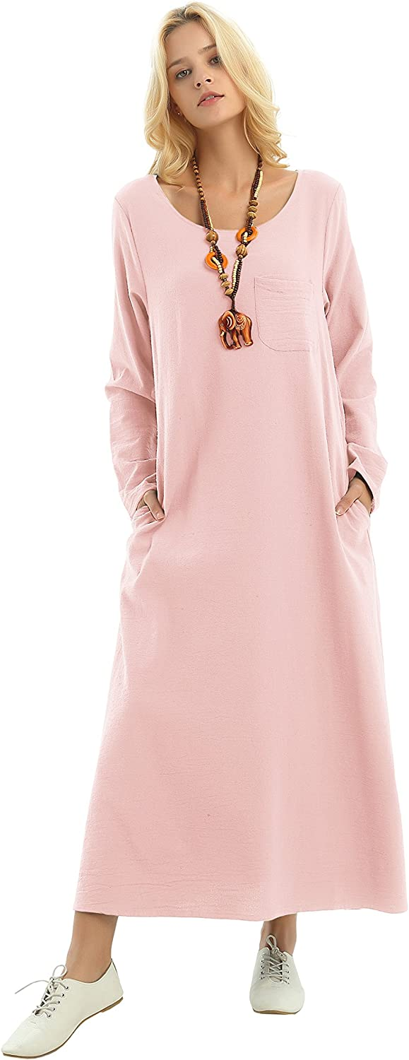 Anysize Long Sleeved Linen Cotton Spring Summer Dress Practical Pockets Plus Size Clothing F148A