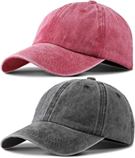 2 Pieces Vintage Washed Plain Baseball Cap Adjustable Cotton Baseball Cap for Men Women red and Black
