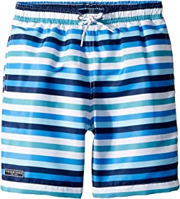 Toobydoo Multi Blue Stripe Swim Shorts (Infant/Toddler/Little Kids/Big Kids)