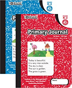 BAZIC Primary Journal Composition Book Marble, 100 Sheet Drawing & Writing Grades K- 2 Notebook Journal Comp Notebooks for Kindergarten School, 2-Pack